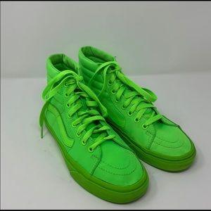 Vans neon  green Sk8 high top Sz 6.5 men's 8 wmn